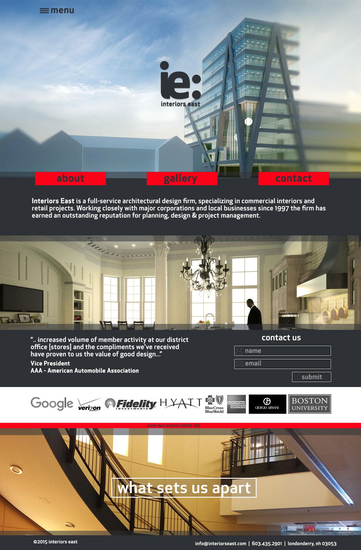 Interiors East Website Concept